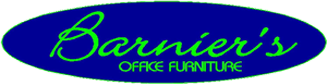 Barniers Office Furniture Logo in blue and green.